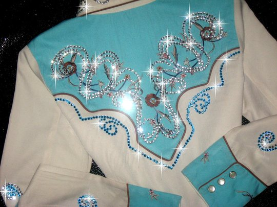 TURQUOISE SCULLY WITH BLING! 1000's of Added Crystals!