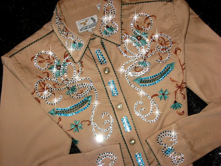 * TAN & Teal/Aqua! Panhandle Slim ! Lovely Embroidery! Loaded with Bling!