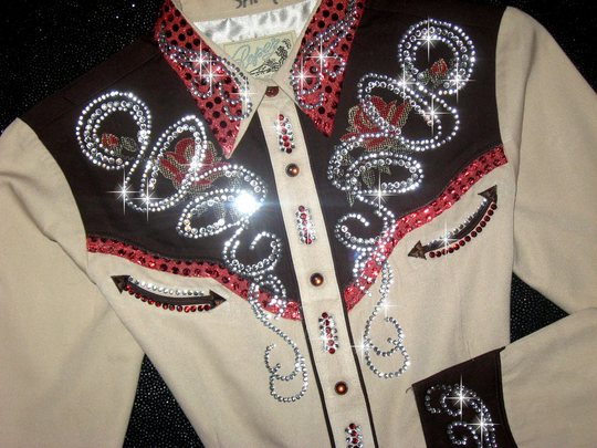 Chocolate & Tan Classic! Embroidered with crystals!