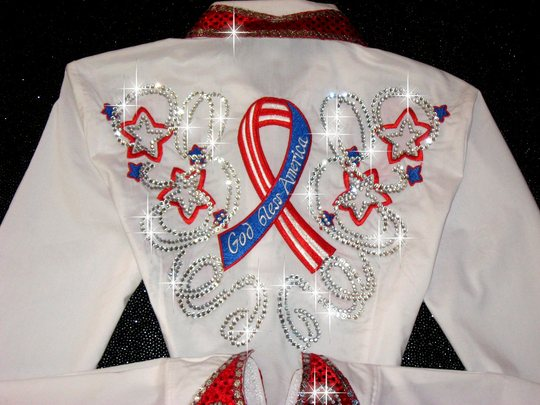 patriotic embroidered usa ribbons  barrel racing rodeo
