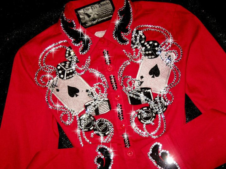 LUCKY LADY!  Petite or Youth! Embroidered Aces &More!