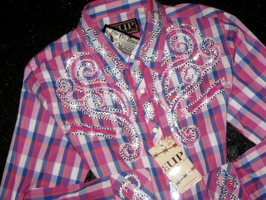 Cowgirl Up! Classic Plaid in Purple, Blue and Coral! Sparkle and Shine!