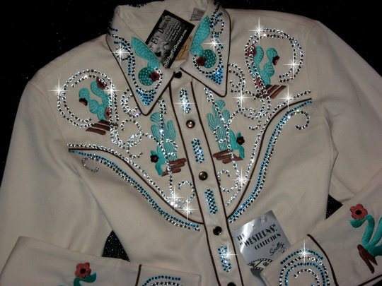 SCULLY! BLINGED TO THE MAX! Southwestern! ECRU & TURQUOISE/TEAL