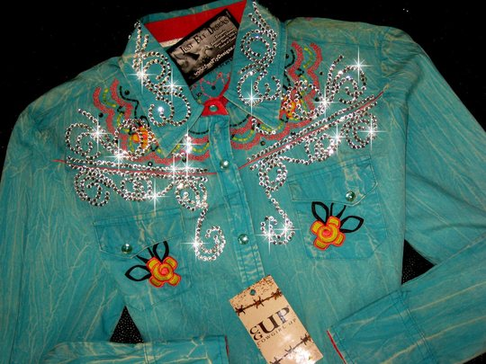 COWGIRL UP!  CLASSIC! PASTEL EMBROIDERY! Crystals and Bling!