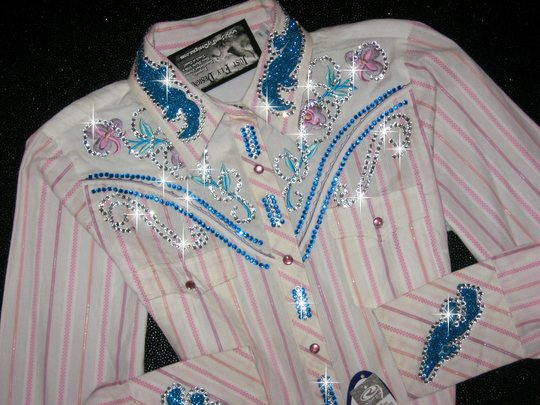 1 Adorable Pastel Stripe! EMBROIDERY!  So Feminine! Bling Galore!