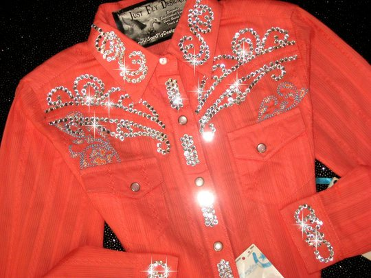 Soft Orange Sherbet!   YOUTH SIZE! ALL BLING!