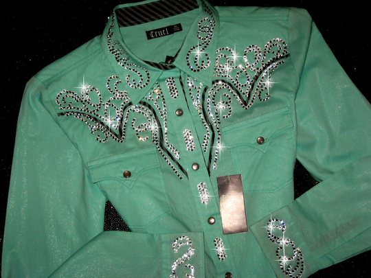 Cruel Girl! XL! Mint Green with Subtle Sparkle! One of a Kind! Bling!