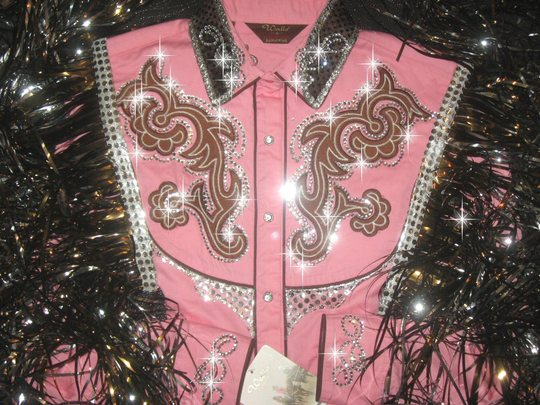 Sweet pink & chocolate embroidered rodeo queen barrel racing  shirt