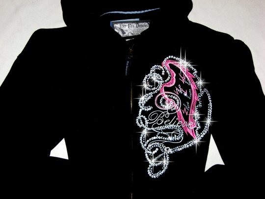 HOODIE!  MEDIUM  EMBROIDERED & BLINGED!!  BELIEVE!!